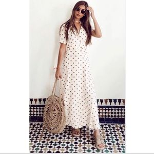 NEW Zara Vanilla Polka Dot Maxi Dress Blogger Face